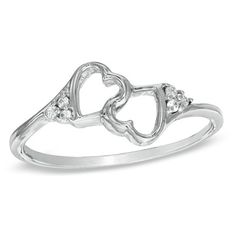 Diamond Accent Double Heart Promise Ring