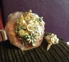 Blush beauty bouquet. Cream and pink button and brooch bouquet with a buttonhole £150.00