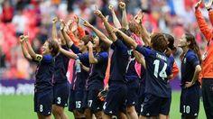 Women's semi-final Football match between USA and Canada