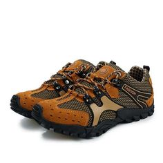 Men Hiking Shoes Suede Mesh Outdoor Sport Running Athletic Sneakers #hikingshoes
