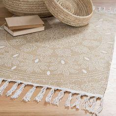 Alfombra con franjas de algodón beis 60 x 90 cm YOGYA