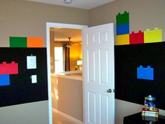 Lego themed Bedroom. The brick images would be great for a 5 year old boy!