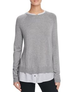 Joie Zaan D Layered-Look Sweater | Nylon/rayon/wool/cashmere; contrast: silk | Dry clean | Imported | Fits true to size, order your normal size | Designed for a contemporary fit | Knit: crewneck, long