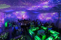 Cool LED central bar and mind blowing space projected on the walls of The Temple House