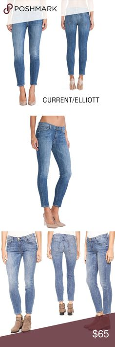 NWT Current/Elliott Women's The Stiletto Blue Jean 💞The Stiletto skinny jeans. Heavy fading gives a distressed look to these whiskered Current/Elliott skinny jeans. 5-pocket styling. Button closure and zip fly.  Fabric: Stretch denim. 90% cotton/6% polyester/4% elastane. Wash cold. Made in the USA. Imported fabric.  Measurements Rise: 8.25 in  Inseam: 27.5 in Leg opening: 10 in Current/Elliott Jeans Skinny