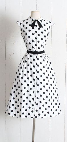 Vintage 1950s Dress vintage 50s white black polka dot cotton