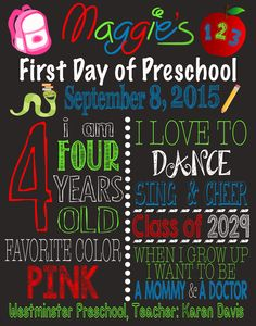 First Day of School Sign available at : https://www.etsy.com/listing/247374337/first-day-of-school-sign-back-to-school?ref=shop_home_active_3   First Day of School Sign - First Day of Preschool - First Day of Kindergarten - First Day of First Grade - Back to School Sign - First Day of Second Grade Sign - First Day of School Chalkboard - First Day of Preschool Chalkboard - Fist Day of Kindergarten Chalkboard - Back to School Printable - First Day of School Printable