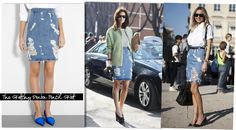 Denim Trend: The Tattered and Torn Pencil Skirt... for me, the jury is still out on this one...
