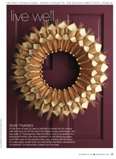 Corona de navidad de trigo y papel [] Wheat & paper Christmas wreath