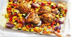Served with roast vegies and mint couscous, this Moroccan chicken dish is as colourful as it is tasty.