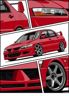 """Lancer Evolution VIII (red)"" Posters by OlegMarkaryan Tuner Cars, Jdm Cars, Cool Car Stickers, Cool Car Drawings, Street Racing Cars, R35 Gtr, Mitsubishi Lancer Evolution, Evo Mitsubishi, Car Illustration"