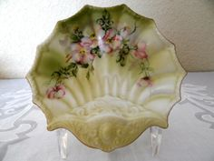 Vintage Hand Painted Nippon Shell Shaped Oyster Plate / Soap Dish - Olive Green & Pink - by TimelessTreasuresbyM on Etsy