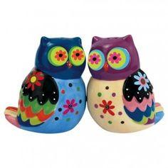Colorful Owl Salt & Pepper Shakers.