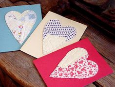 Valentine Patchwork Heart Cards Vintage Feedsack Cutter Quilt Everyday Greeting Blank Note Card Upcycled Stationery itsyourcountry