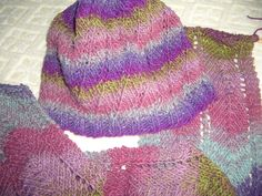 Free pattern from Bernat -- Spiral Hat.  Scarf is modified from Red Heart shawl -- Romancing the Shawl.