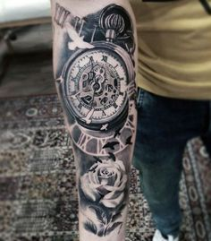 Tatto Ideas 2017  200 Popular Pocket Watch Tattoo &...