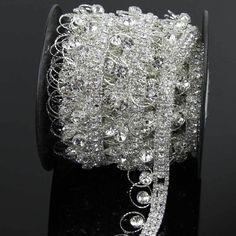 Pacote de mistura de strass prata cadeia de garra 1 jarda Sew on Cup para ornamento acessórios em Pedrarias de Casa & jardim no AliExpress.com | Alibaba Group