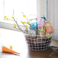 Easter basket tags martha stewart living inexpensive baskets easter basket 20 wire easter basket with jarred candies and wrapped gifts terrain negle Image collections