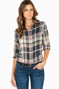 Caldwell Plaid Blouse in Purple / ShopSosie #plaid #flannel #shopsosie #sosie