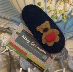 Bear brown teddy wool felt hair clip -navy