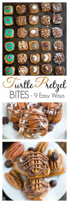 Turtle Pretzel Bites are quick and easy to whip up and make the perfect holiday gifts. Switch them up 9 Easy Ways with Almond Joy, Snickers and other flavors depending on what you have in your pantry!