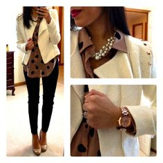 Loving the cocoa/black polka dot shirt for Fall & the cream jacket