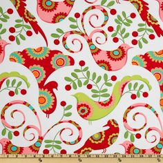 Michael Miller Christmas Pretty Bird Santa Red from @fabricdotcom  Designed by Pillow & Maxfield for Michael Miller Fabrics. This fabric is perfect for quilting, craft projects, apparel and home decor accents. Colors include lime green, turquoise, yellow, orange, red and hot pink on a white background.