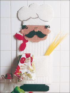 Plastic Canvas - Wall Door Hanging Patterns - Other Patterns - Chef Pocket Plastic Canvas Stitches, Plastic Canvas Crafts, Plastic Canvas Patterns, Cross Stitch Embroidery, Cross Stitch Patterns, Kitchen Canvas, Bathroom Crafts, Wall Canvas, Wall Art