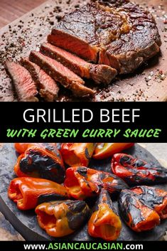 Who doesn't love an easy grilled beef recipe? This Grilled Beef with Green Curry Sauce will be on rotation in your kitchen for years to come. Tender beef, char-grilled bell peppers, and a fiery sauce are a flavor bomb in your mouth! This is the perfect summer cookout recipe and it's so quick to the table, you can easily add it to your busy weeknight recipe options too! #easydinnerrecipe #healthydinnerrecipe #healthygrilledrecipes Asian Dinner Recipes, Easy Asian Recipes, Easy Summer Meals, Summer Recipes, Curry Recipes, Beef Recipes, Green Curry Sauce, Healthy Grilling Recipes, Grilled Beef