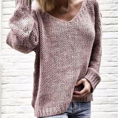 7f120c73b V Neck Long Sleeve Plain Knitting Casual Sweaters – ebuytide Cardigan  Sweaters