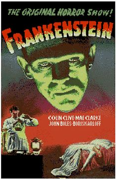 Frankestein Movie Poster Counted Cross Stitch by robinsdesign, $5.00