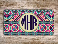 Cute license plate monogrammed car tag frame - Aztec car tag pinks and aqua blue - personalized car tag bicycle accessory bicycle (1261) on Etsy, $12.99