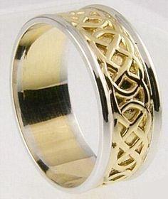 """Mens 10K/14K/18K Two tone Yellow & White Gold Celtic """"Eternity Knot"""" Wedding Band Ring - Men's Celtic Rings - Celtic Rings"""