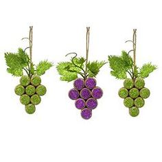 St. Nicholas Square® 3-piece Cork Grape Christmas Ornament Set