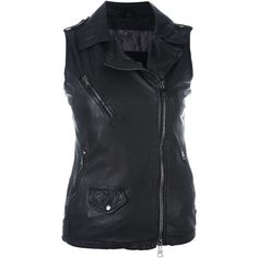 Giorgio Brato Sleeveless Biker Jacket ($721) ❤ liked on Polyvore featuring outerwear, jackets, black, 100 leather jacket, sleeveless jacket, moto jacket, rider jacket and motorcycle jacket