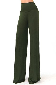 High Waist Palazzo Pants in Olive   Shop