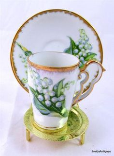 Vintage Lily of the Valley China - Japan - Demitasse Tea Cup and Saucer Set