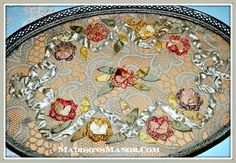 stunning antique lace tray - Pesquisa Google