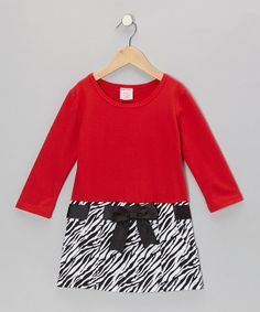 Take a look at this Red Zebra Bow Dress - Girls by S.W.A.K. on #zulily today! $6.49---up to size 16!