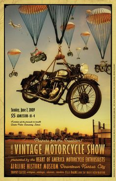 Vintage motorcycle show poster