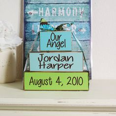 3- Block Stack- Our Angel Custom Baby Name & Birth Date- Hand Painted Wooden Blocks-Country Decor-Shabby-Baby Gift by LilyAndLiamBoutique on Etsy