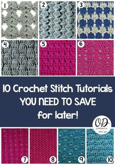 10 Crochet Stitch Tutorials You Need To Save For Later | Make a fun sampler afghan using these unique crochet stitches