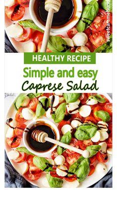 Delicious Vegan Recipes, Healthy Salad Recipes, Vegetarian Recipes, Cooking Recipes, Caprese Salad Recipe, Caprese Salad Dressing, Caprese Pasta Salad, Side Dish Recipes, Dinner Recipes