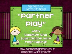 My latest set of partner games!  I can't wait to use these in math workshop next year AND be able send them home for fun home practice!  This set focuses on addition and subtraction with regrouping skills.  Check it out!  $