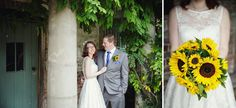 A Quirky Wedding at Hellens Barn, with Sunflowers and Elephants | Herefordshire Wedding Photography Yellow Wedding Tea Length Wedding Dress ...