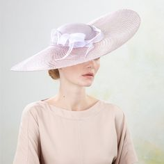 Lilac | Jane Taylor Millinery | Sweeping window brim with twists | Elegant sweeping window sinamay brimmed hat with rolled organdy twist detail