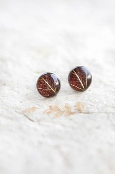 Real leaf stud earrings resin jewelry with brown by UralNature