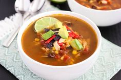 This Slow Cooker Chicken Tortilla Soup is filled with tender chicken, diced tomatoes, corn, black beans, and a combination of spices. With hardly any prep . Best Slow Cooker, Slow Cooker Recipes, Crockpot Recipes, Soup Recipes, Baking Recipes, Fast Cooker, Chili Recipes, Paleo Recipes, Chicken Recipes