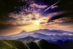 amazing mountains and sunlight