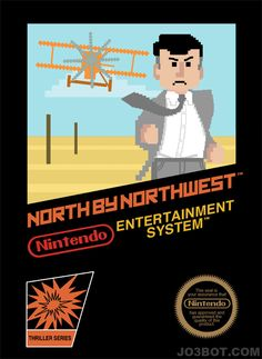 8-bit Alfred Hitchcock NES boxes. I tried to do this for a flyer before, but it didn't come as good.